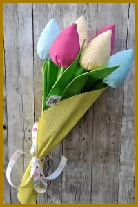 pluszowe tulipany ręcznie szyte