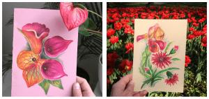 tetu art kartki malowane z kwiatami